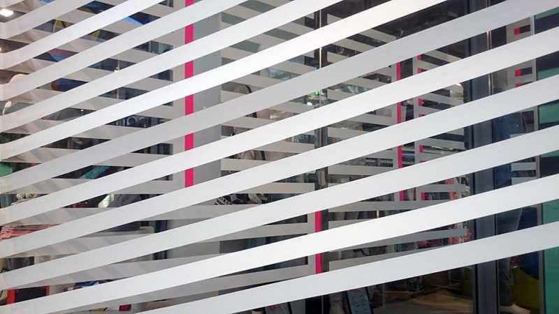 Closeup of the three-dimensional optical art installation by Ostap