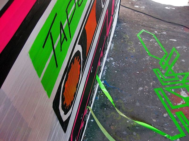 Tape Cassette-mixed media graffiti- Ostap-2012- close-up