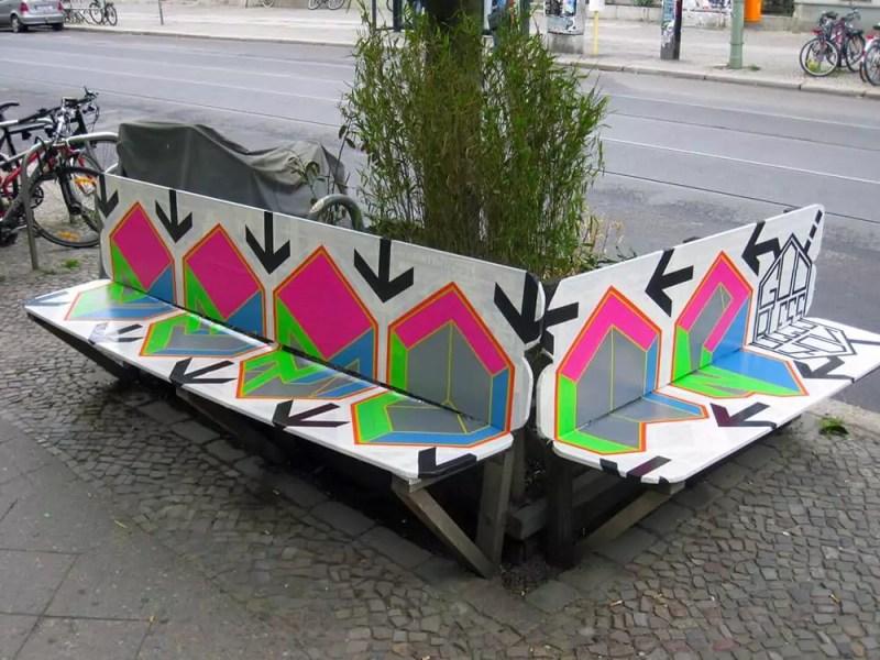 god bless you Berlin- duct-tape-street-art-bench-Ostap-2012