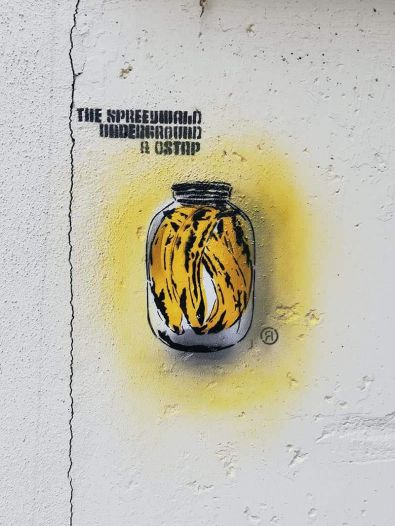 Bananas in a glass can- Stencil street art by Ostap-2018