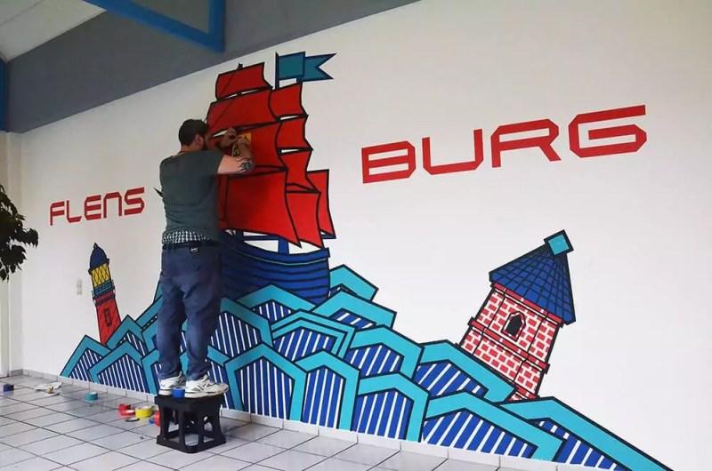Making-off duct tape graffiti- commissioned wall art- Flensburg-Germany 2016