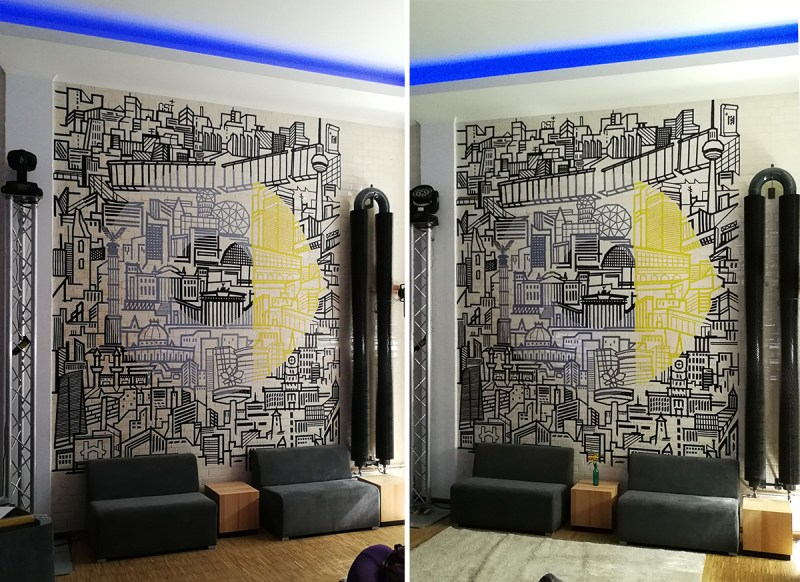 Berlin-Skyline and Smart Logo Wall- Hologram effect with duct tape