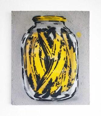 Spree Can, Banana Can, 2013-2019-Stencil spray art on canvas