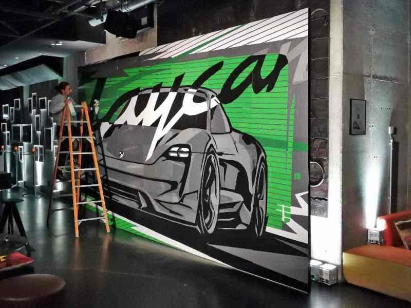 A completed 3 x 7 meter work of art after Team Building Workshop for Porsche AG