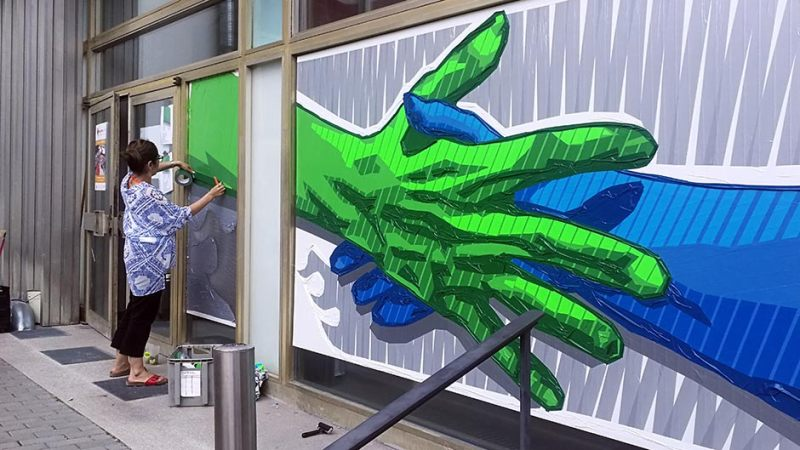 Artworks made out of duct and masking tape by Ostap & Selfmadecrew