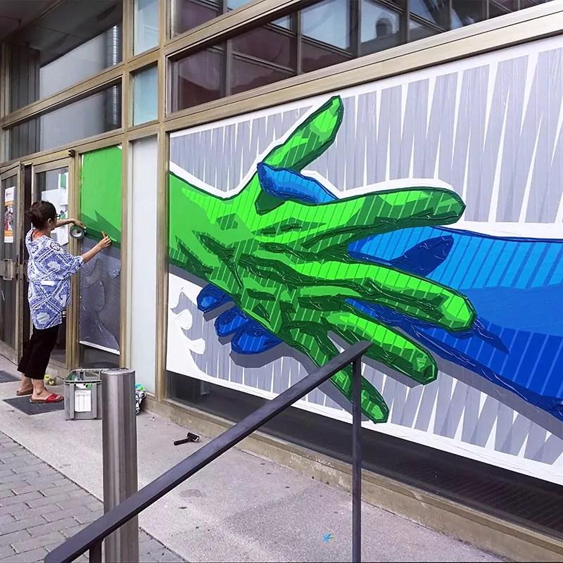 Interaktive Tape Art Live Painting Show- Selfmadecrew für WelcomeCamp
