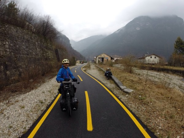 On the rail-trail towards the Italy-Austria-Slovenia border