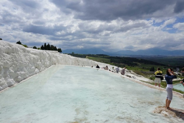 Travertine terraces with thermal pools at Pamukkale
