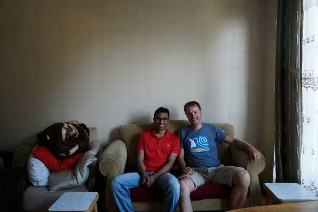 With Umar Mukthar at his flat in Tbilisi