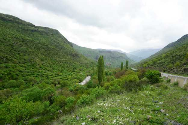 View back down the lower Paravani valley between Akhalsitke and Akhalaki.