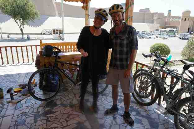 With matching helmet buddy Alex, at Alibek B&B, Khiva