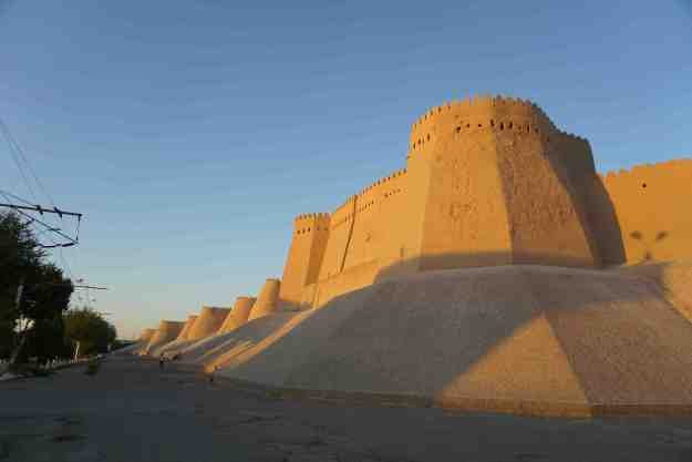 Walls of Khiva at sunset