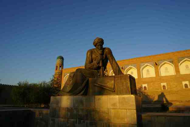 Beard stroking Al-Khorezmi, father of algebra and doyen of Khiva