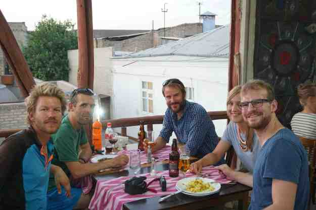 With new friends in Bukhara, including Ritzo and Ian who I later rode with in Tajikistan