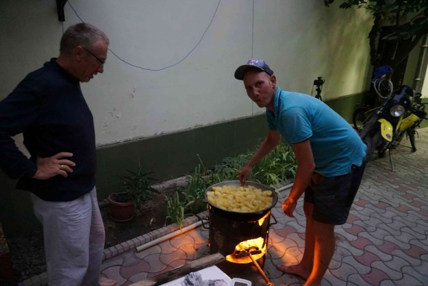 Chef Timo & sous chef Alain cooking up a storm in Dushanbe