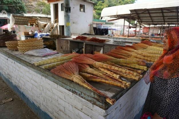 Brooms for sale in the bazaar, Osh