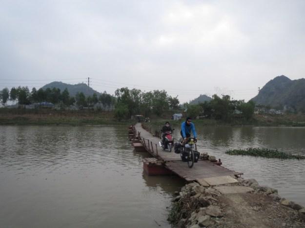 Pontoon bridge in northern Vietnam