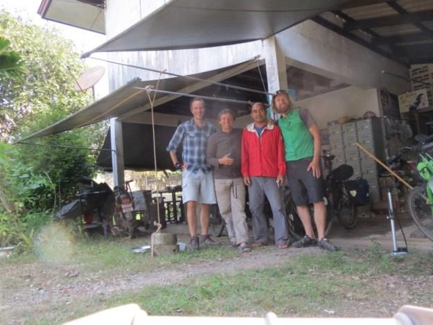 With Taneli, host Poei and German cyclist Thomas, in Chantaburi, Thailand