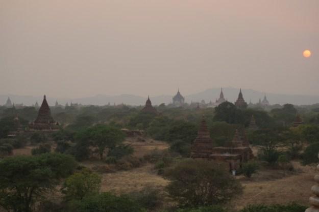 The temples of Bagan at dusk