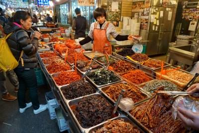 More kimchi than you can shake a stick at, in Gwangjang Market, Seoul