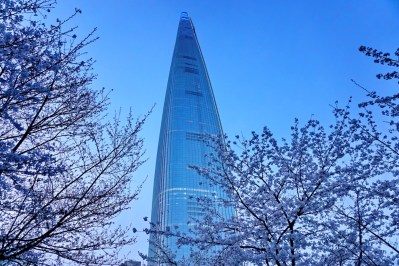 Lotte World Tower, Jamsil Lake, Seoul. 123 floors, 555 metres, 5th tallest building in the world.