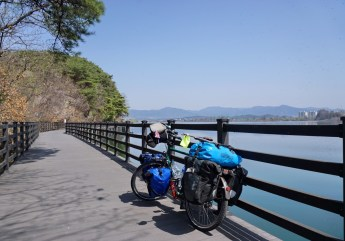 Cycle path along the Soyang River near Chuncheon City, Gangwon-do, north-east of Seoul.