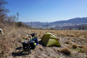 Wildcamping on fallow land in the 'Punchbowl'. North Korea is just the other side of those hills. I took a trip to the observatory where we looked through binoculars at the battle sites in the DMZ and north Korean emplacements beyond. Photos not allowed there, obvs.