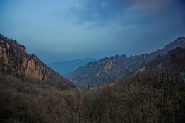 Cycling through Seoraksan National Park at dusk.