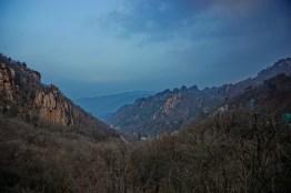 Cycling through Seoraksan National Park at dusk.