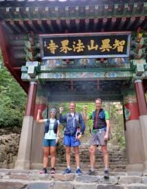 Start of the Jirisan run with Hyon Shim and Piet