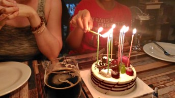 10% ABV beer, cake and friends - a great joint birthday with Margaret, thanks to Margaret and Brittany.