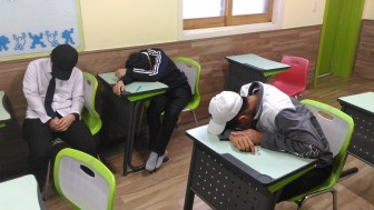 This is what a full day in main school and then three subject academies plus homework will do to you.