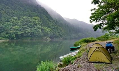 Camping next to the Nishiki River, Honshu
