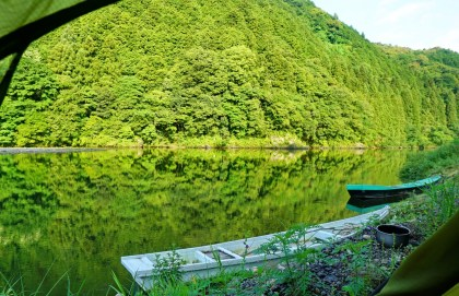 View from my tent in the morning, Nishiki River, near Iwakuni