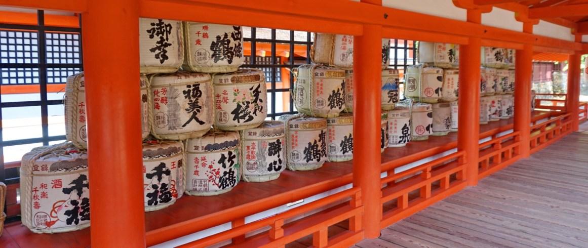 Saki barrels inside Inside Itsukushima shrine