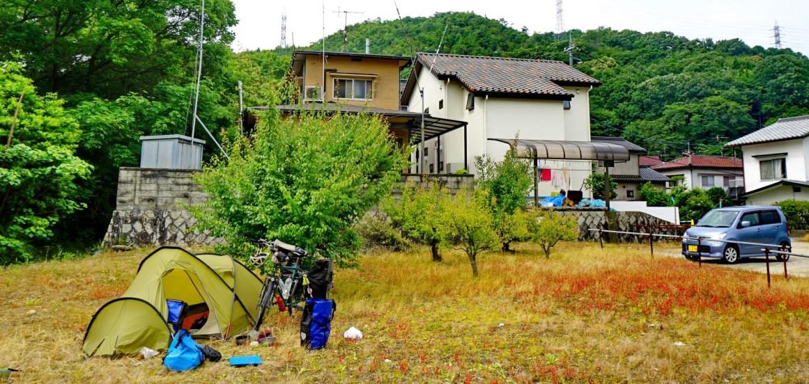 Camping on a vacant lot in Kumano, outside Hiroshima.
