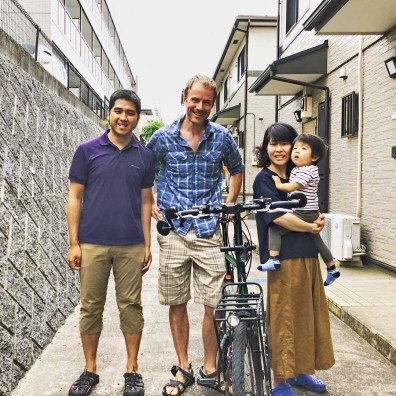 With amazing hosts Yuji and Aya, who had toured the world for three years before little Kai arrived. Photo: Y.Kimura