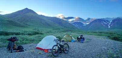 Camping south of the Atigun Pass. This shot was taken at almost midnight.