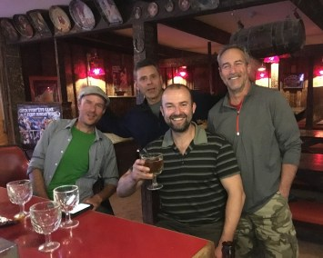 With artist Tod and his pal in Moose's Saloon, Kalispell