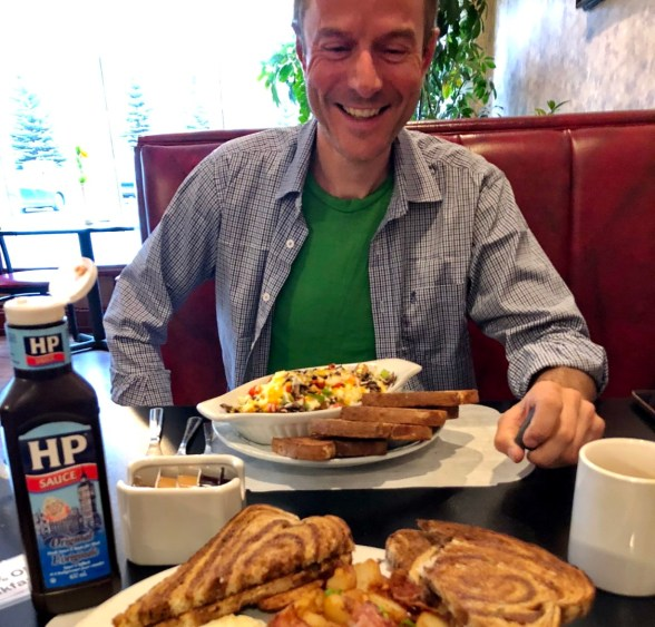 Breakfast of champions at Causeway Bay Hotel, Sparwood. Canada has HP sauce - result!