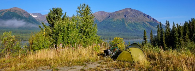 As roadside pullouts go, this was good camping at Edontenajon Lake, Cassiar Highway. Certainly a more attractive prospect than 'Rabid Grizzly Rest Area', that one exists!