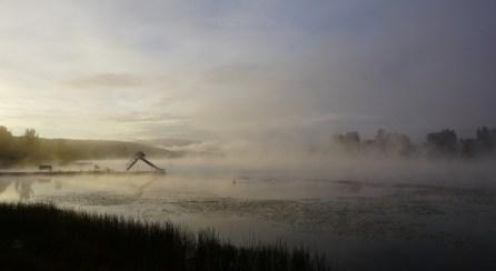 Morning mist on Burns Lake, Yellowhead Highway