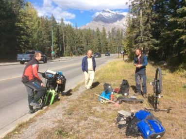 Drawing a crowd with my second puncture in Banff. Photo: R.Zima