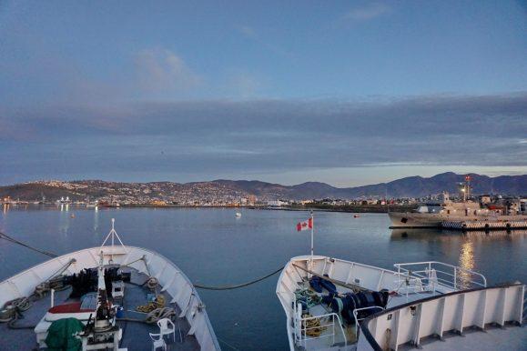 View from the bridge of the Teraaka towards the naval dockyards and Ensenada malecon.