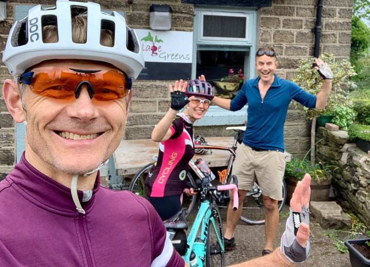 Reunion ride with dear friends, former PhD supervisors and all round lovely humans, Kevin and Alice. Kev is grinning because he knows what's in store - the two of them have become ultra-fit cyclists since I've been away. I got my arse handed to me on a plate. It was a superb day out, mind. Photo: K.Anderson
