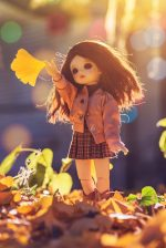 doll standing on brown leaves
