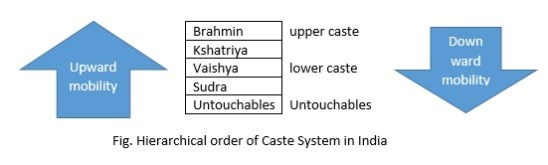 hierarchical order of caste system in india