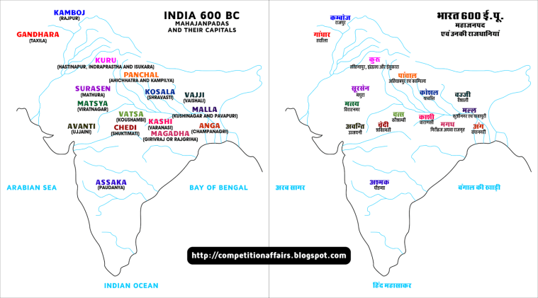 FORMATION OF STATES MAHAJANAPADA REPUBLIC AND MONARCHIES – Ancient India Map Worksheet
