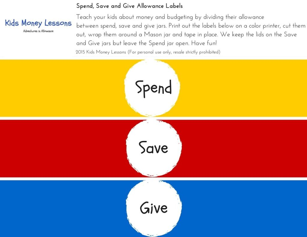 Kids Money Lessons Spend Save Give Allowance Labels 2015