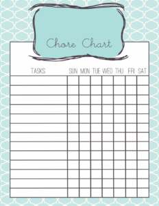 Whimsy and Hope Chore Chart